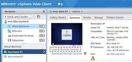 Подключение к ВМ linux-base-01 средствами vSphere Web Client